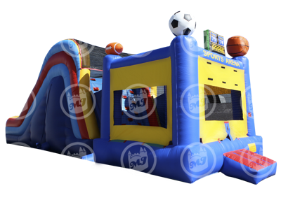 bounce house, climber, and slide sports combo ride