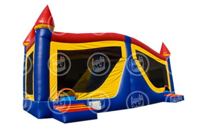 bounce house and slide, inflatable combo ride, party rides