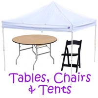 Bell tables and chairs, Bell chair rentals